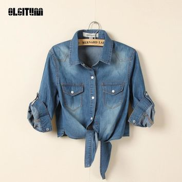 Trendy Women Denim Jacket Rural Summer with shawl Cropped Short Denim Jackets Five Sleeves Jeans Light/Deep Blue Chaquetas Mujer BS063 AT_94_13
