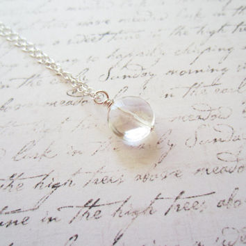 Clear Rock Crystal Necklace, Swedish Jewelry Design, Made in Sweden, Scandinavian Jewelry