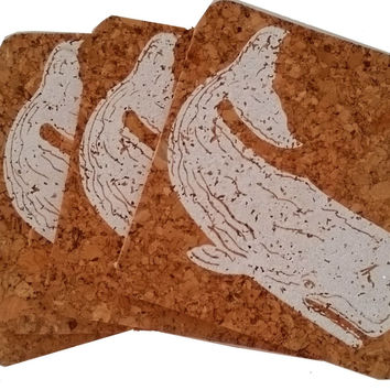 Nantucket Whale; Beach Hostess gift/BBQ/ picnic/party/cork/Coastal Cork Coasters - Set of 4 White