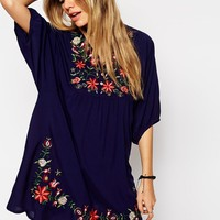 ASOS Reclaimed Vintage Smock Dress With Embroidered Yoke