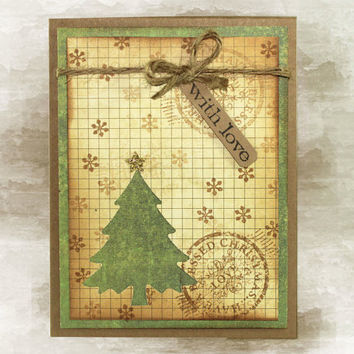 Rustic Christmas Card - With Love - Christmas Blessings
