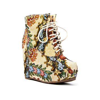 Floral Pattern Vintage Style Lace Up Wedge Booties