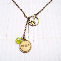 Peace Sign Necklace Lariat Necklace Peace Jewelry Word Jewelry Hippie Necklace  Y Necklace Y Shaped Necklace Vintage Brass Necklace Chain