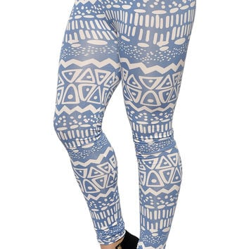 BadAssLeggings Women's Aztec Print Leggings Small Blue