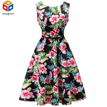 2017 Summer Plus Size 1950s Retro Tunic Party Dress Boat Neck Sleeveless Floral Print Audrey Hepburn Rockabilly Dress With Belt