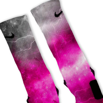 Pink Storm Customized Nike Elite Socks