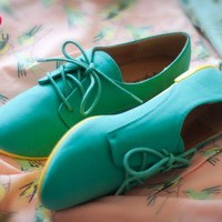 Qupid Salya-565 Lace Up Two Tone Oxford Flat (Sea Green) - Shoes 4 U Las Vegas