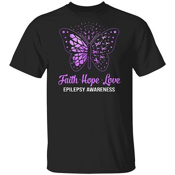 Faith Hope Love Purple Butterfly Epilepsy Awareness