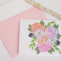 Hello doll floral greeting card note card