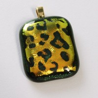 Leopard Pendant, Green and Gold Dichroic, Gold Plated Bail, Handmade
