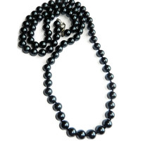 Hand Knotted Black Pearl Necklace