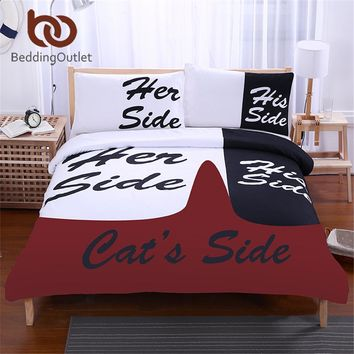 His Side & Her Side Couple Home textiles Soft Duvet Cover with Pillowcases 3Pcs Hot