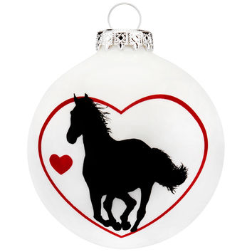 Horse in Heart Round Glass Ornament