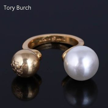 Tory Burch Fashion New Pearl Personality Opening Ring Women Golden