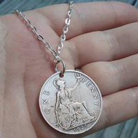 British coin pandant. Coin necklace.  England one penny necklace. 1927