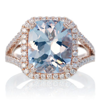 14 Karat Rose Gold 11x9 Cushion Cut Aquamarine Diamond by SAMnSUE
