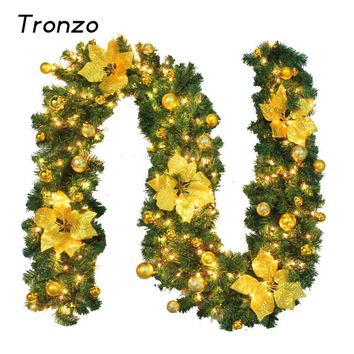 Tronzo 2.7M Green Christmas Garland With Warm Yellow Light DIY Xmas Ornament Christmas Decoration For Home Party Supplies