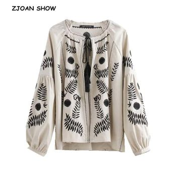 Trendy Bohemian Black Floral Embroidery Jacket Beige Ethnic Woman Lantern sleeve Lacing up Kimono Cardigan Jacket Coat Sunscreen Femme AT_94_13