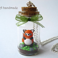 Cute terrarium necklace with a kawaii fox