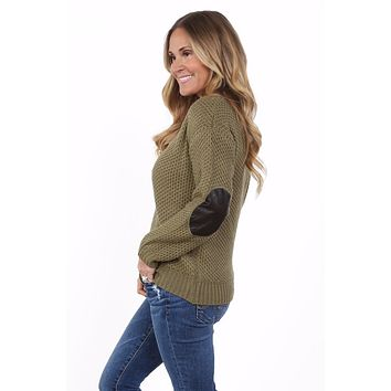Knit Faux Leather Elbow Patch Sweater