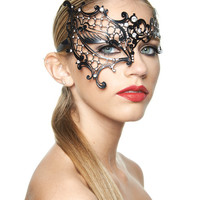 Kayso Laser Cut Phantom Of The Opera Masquerade Half Mask W-clear Rhinestones - Black