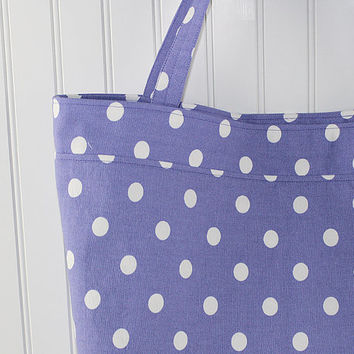 Purple Polka Dot Print Tote Bag or Market Bag, Large Tote Bag, Reusable Grocery Bag, MK139