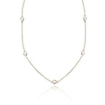 """Diamond by the Yard Necklace In 14K Rose Gold 0.79CT G VS1 3.5 Grams 17"""""""