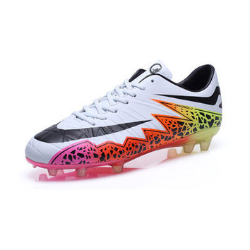 2017 TBA Men kids Waterproof Artificial Leather Football Boots light-wearing Football Shoes lace-up Indoor Soccer Shoes 6 colors