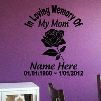 In loving memory of my Mom Memorial Decor Wall Decal Art Vinyl Sticker tr303