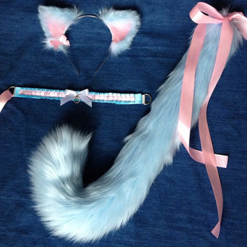 Bubblegum Kitten Set bdsm petplay cat costume kitty kawaii cute faux fur ears tail collar choker