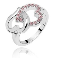 Qiyun New Arrival Heart To Heart Diamond Crystal Ring Women Finger Ring