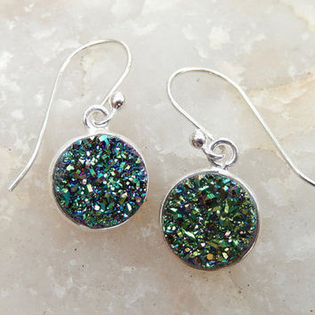 Teal Druzy Earrings Sterling Silver Drusy Peacock Quartz Green Drops - Free Shipping Jewelry
