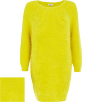River Island Womens Yellow fluffy sweater dress