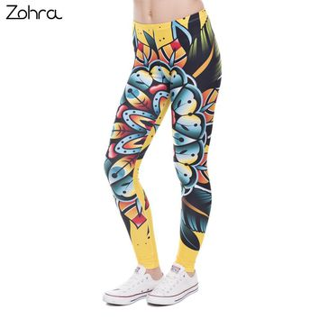 Zohra New Fashion Women Leggings Creative Design Leggins Printed Trousers Tattoo Flower Legging High Waist Legins Women Pants