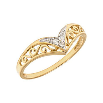 14K Yellow Gold Diamond Chevron Ring (Size 10.5)