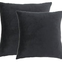 "JWstyle1000 Set of Two 18"" X 18"" Square Cotton Super Soft Short Plush Throw Pillow Cover Black"