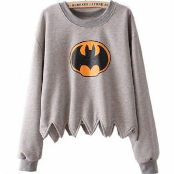 Women Bat Print Long Sleeve Serrated Loose Jumper Sweatershirt, Small, Gray