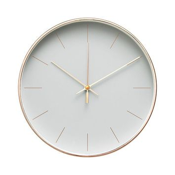 """Minimalist Design Contemporary Cream Palette 9.5"""" Non-Ticking Silent Wall Clock with Rose Gold Frame (Earl Gray)"""