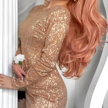 Keep Dreaming Beige Metallic Sequin Long Sleeve Plunge V Back Bodycon Mini Dress