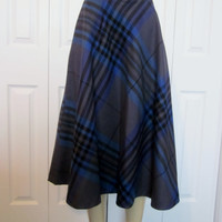 Vintage 80s Plaid A-Line Skirt Long Midi Wool Skirt Womens 12 Blue and Grey Plaid Aline Preppy Modest Skirt Sanyo Japan