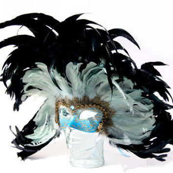 Feather Mask Masquerade Ball Burlesque Show Halloween Costume Iridescent Rooster Feather Black and Tiffany Blue Gold Lace and Detail