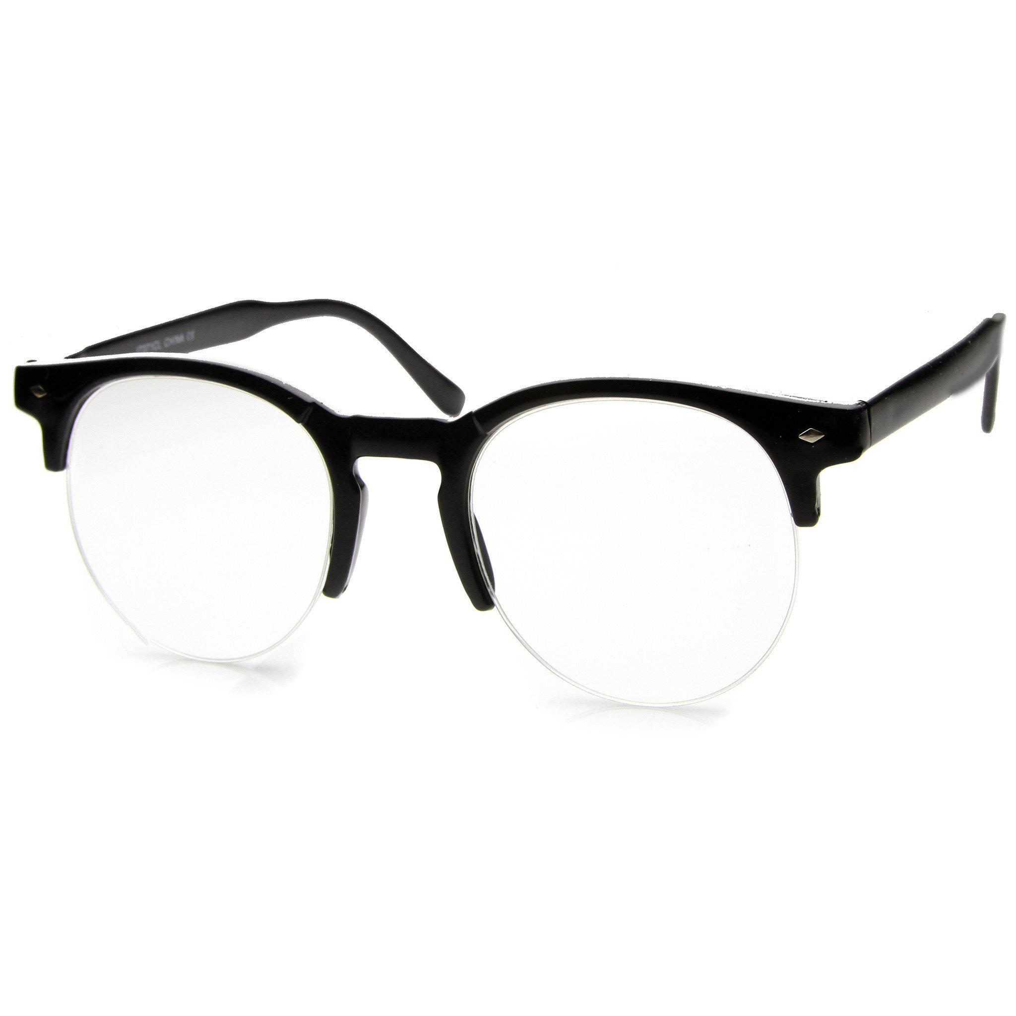 396681ebe1 Indie Dapper Round Half Frame Clear Lens from zeroUV