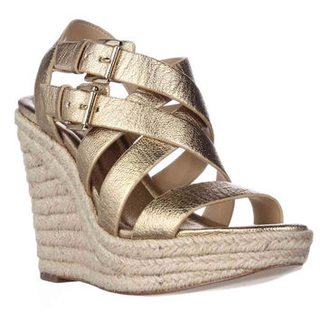 MICHAEL Michael Kors Jocelyn Wedge Espadrille Sandals - Pale Gold