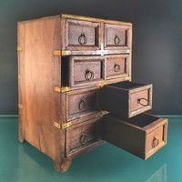 8-Drawer Wood Cabinet with Brass Accents