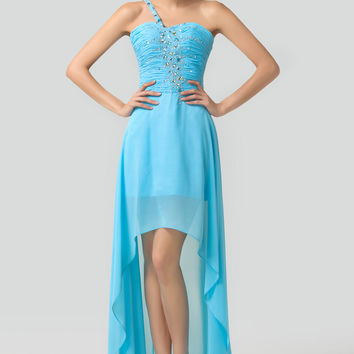 Sky Blue One Shoulder Ruched Beaded High-Low Chiffon Maxi Dress
