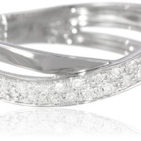 Sterling Silver Diamond Crossover Ring (0.16 cttw, G-H Color, I2-I3 Clarity), Size 7
