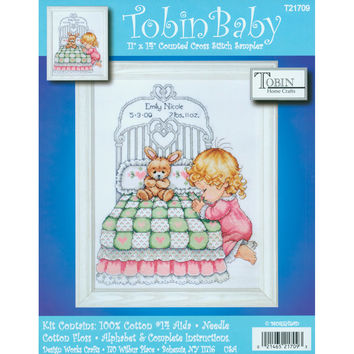 """Bedtime Prayer Girl Birth Record Counted Cross Stitch Kit-11""""""""X14"""""""" 14 Count"""