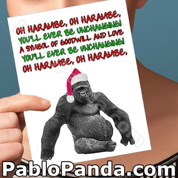 Holiday Cards | Meme | Harambe Gorilla Funny Christmas Merry Christmas Card Boyfriend Card Girlfriend Card Boyfriend Gift Card For Boyfriend