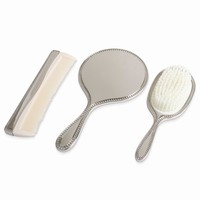 Nickel-plated Beaded 3-Piece Dresser Set with Mirror - Engravable Gift Item