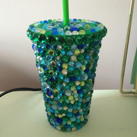Blue and Green Rhinestone Tumbler Cup
